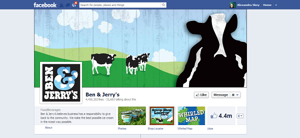 Ben & Jerry's - Good Example Of A Business Page On Facebook