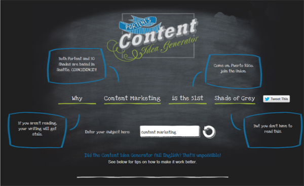 Top 7 content marketing blogs to read in 2014 for Portent idea generator