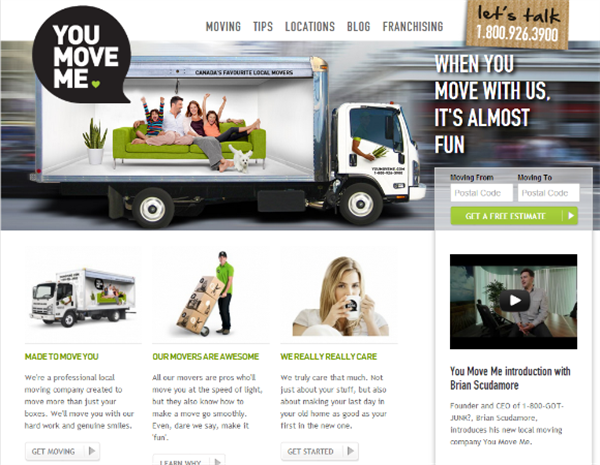 YouMoveMe Website - Example Of Old School Marketing That Works