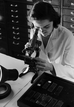 [Woman using microscope, St. Luke