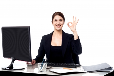 Business Is Great. Cheerful Corporate Woman Stock Photo - How to Get the Perfect Image for Your Blog in Under 4 Minutes!