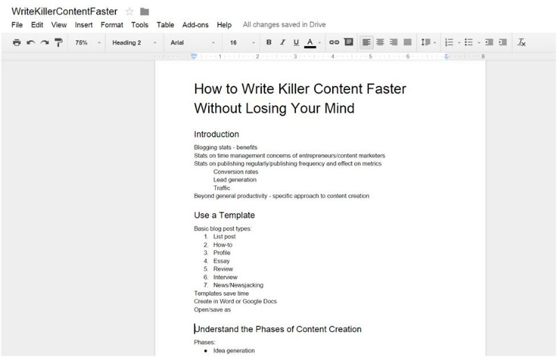 How To Write Killer Content Faster Without Losing Your Mind - Content creation template