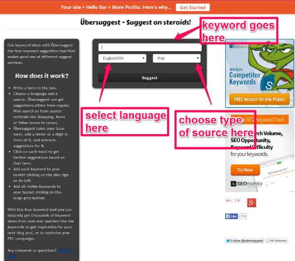 Screenshot of UberSuggest and how to use to find long-tail keywords