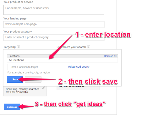 Screenshot of Google Adwords Keywords Planner location settings