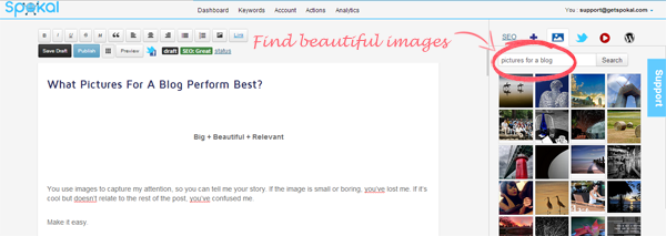Spokal - How To Add Pictures For A Blog - Step 1