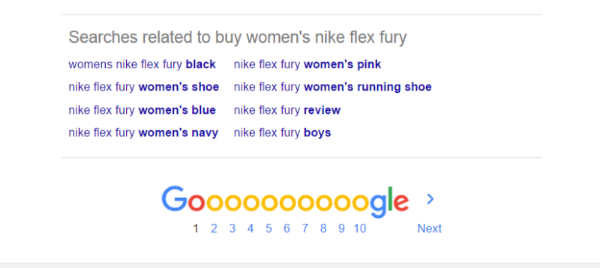 Screenshot of Google Searches Related To results