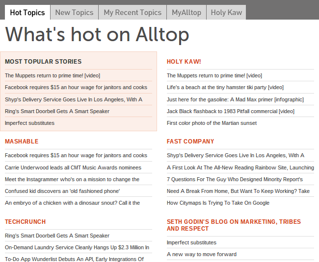 How to find content AllTop
